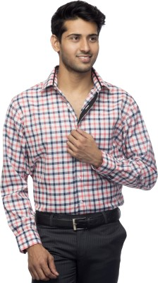 Menmark Men,s Checkered Formal Black, White, Pink Shirt