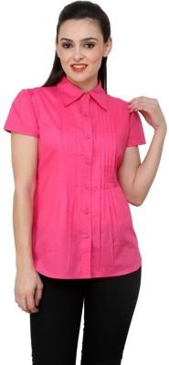 Aardee Women's Solid Casual Pink Shirt