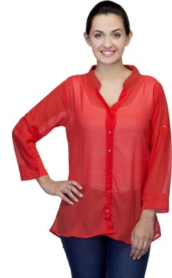 One Femme Women's Solid Casual, Lounge Wear Red Shirt