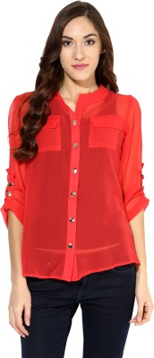 Raindrops Women's Solid Casual Orange Shirt
