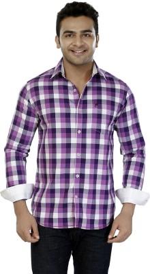 Jazzup Men's Checkered Casual Purple Shirt