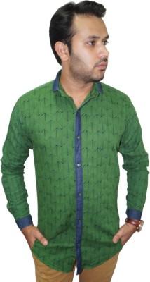 Ali Darzi Men's Printed Casual Green Shirt