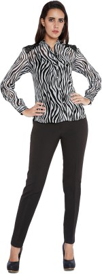 Park Avenue Women,s Self Design Formal Black Shirt
