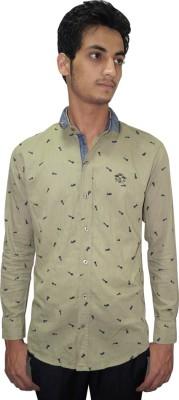 Ali Darzi Men's Printed Casual Light Green Shirt