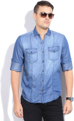 The Indian Garage Co. Men,s Solid Casual Blue Shirt