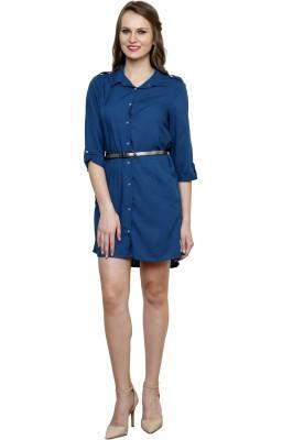 Vastrasutra Women's Solid Formal Blue Shirt