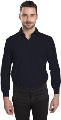 Ishin Designer Studio Men's Solid Casual Blue Shirt