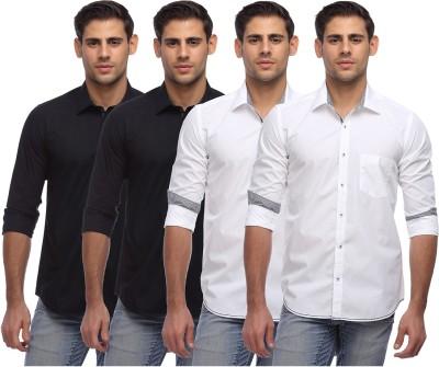 Yellow Orange Men's Solid Casual Black, White Shirt