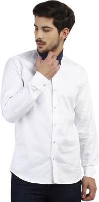 Marcello And Ferri Men's Self Design Formal White Shirt
