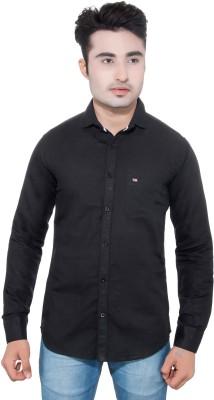 GreyBooze Men's Solid Casual Linen Black Shirt