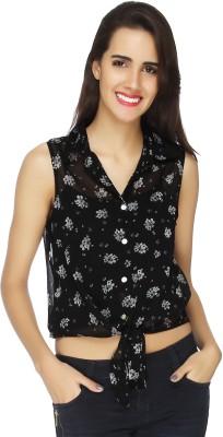 20 Dresses Women's Printed Casual Black Shirt