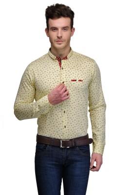 Edjoe Men's Printed Casual Yellow Shirt