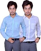 Mc john Formal Shirts (Men's) - Mc-John Men's Solid Formal Blue, White Shirt(Pack of 2)