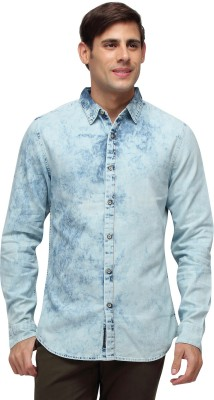 Blue Saint Men's Checkered Casual Blue Shirt