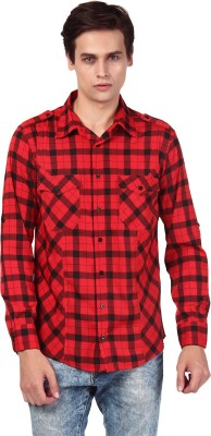 Oxolloxo Men's Printed Casual Red Shirt