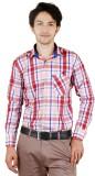 Zrestha Men's Checkered Formal Red Shirt