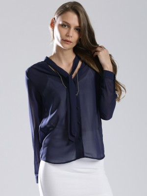 Dressberry Women's Solid Casual Dark Blue Shirt