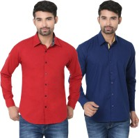 Stylox Formal Shirts (Men's) - Stylox Men's Solid Formal Multicolor Shirt(Pack of 2)