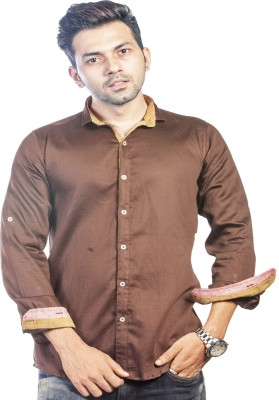 Bombay Casual Jeans Men's Solid Casual Brown Shirt