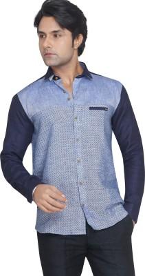 Matchles Men,s Polka Print Casual Linen Light Blue, Dark Blue Shirt