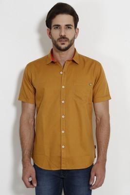 SIN Men's Solid Casual Orange Shirt