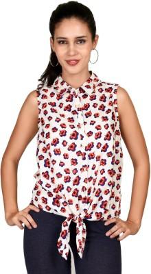 Curvy Q Women's Printed Casual Beige Shirt