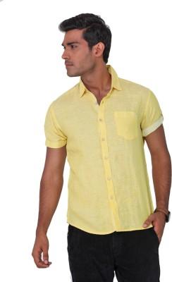 Vintage Soul Men's Solid Casual Linen Yellow Shirt