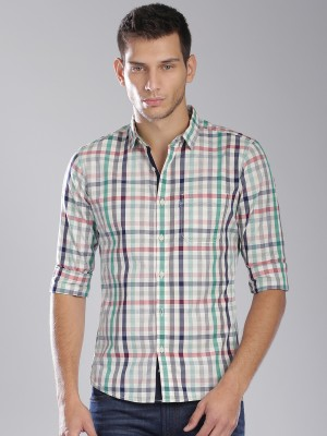 HRX by Hrithik Roshan Men's Checkered Casual White, Green Shirt