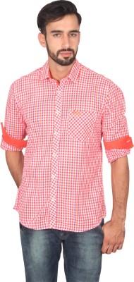 Ashford Brown Men's Checkered Casual Red Shirt