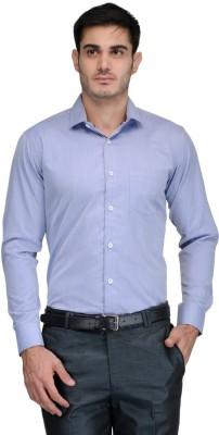 Harvest Men's Solid Formal Blue Shirt