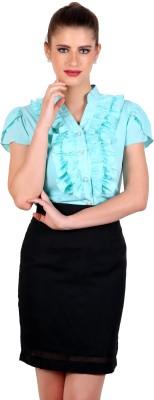 Eyelet Women's Solid Casual Light Blue Shirt