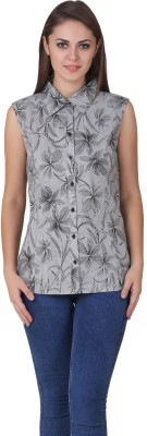 One Femme Women's Floral Print Casual, Lounge Wear Black Shirt