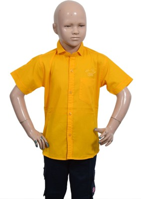 Puppet Nx Boy's Solid Casual Yellow Shirt