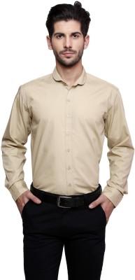 Thousand Shades Men's Solid Formal Beige Shirt