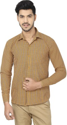 Trewfin Men's Checkered Casual Yellow, Blue Shirt