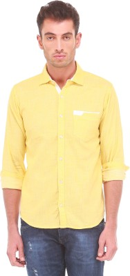 Sleek Line Men's Solid, Self Design Casual Yellow Shirt