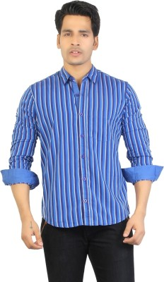 ALIEP Men's Striped Casual Blue Shirt