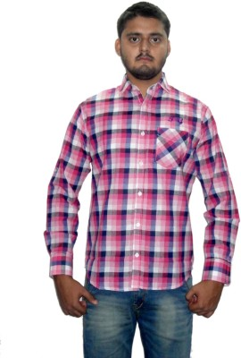 The GreeK Men's Checkered Casual Pink Shirt