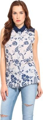 Blue Sequin Women's Printed Casual White, Blue Shirt