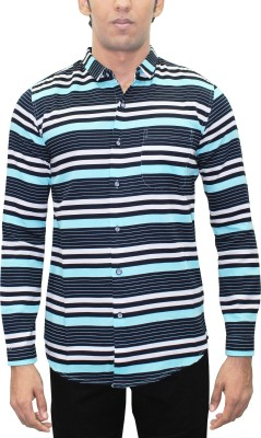 Kuons Avenue Men's Striped, Printed Casual Light Blue, Blue, Black Shirt