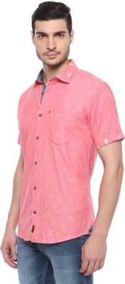FERROUS Men's Solid Casual Red Shirt