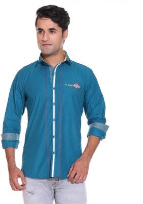 Rebel Men's Solid Casual Light Blue Shirt