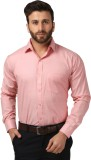Mesh Men's Solid Formal Pink Shirt