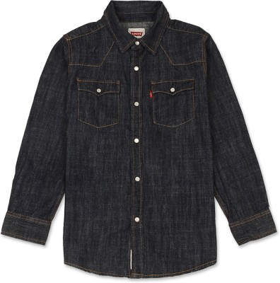 Levis Kids Boy's Solid Casual Dark Blue Shirt