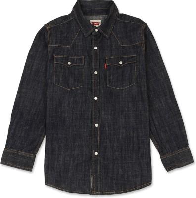Levis Kids Boy,s Solid Casual Dark Blue Shirt