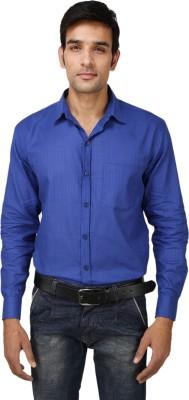 Aaral Men's Solid Formal Blue Shirt