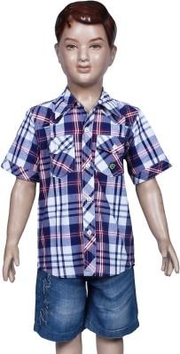 Chutti Pluss Boy's Checkered Casual Dark Blue Shirt
