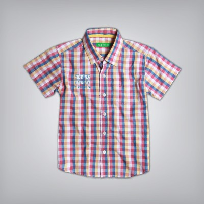 Palm Tree Boy's Printed Casual Red Shirt