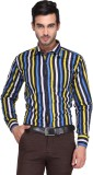 Ausy Men's Striped Casual Blue, Yellow S...