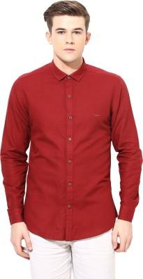 Velloche Men's Solid Casual, Festive Linen Maroon Shirt